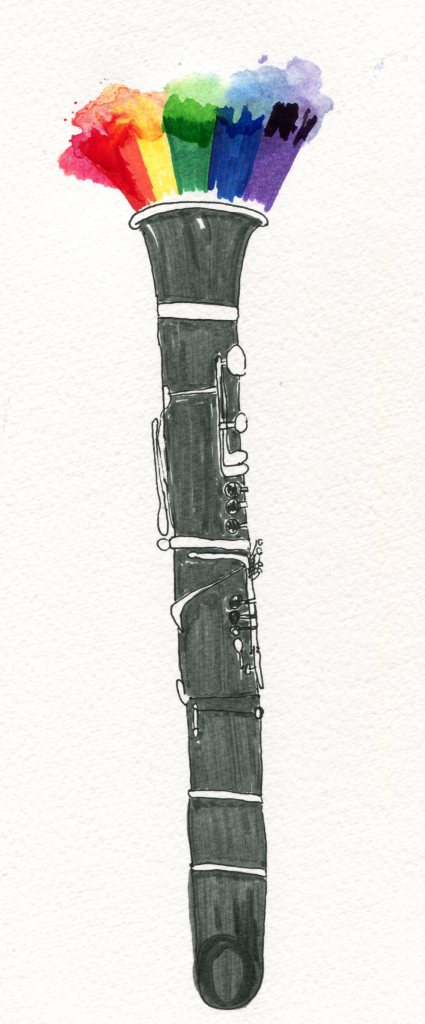 clarinet with rainbow