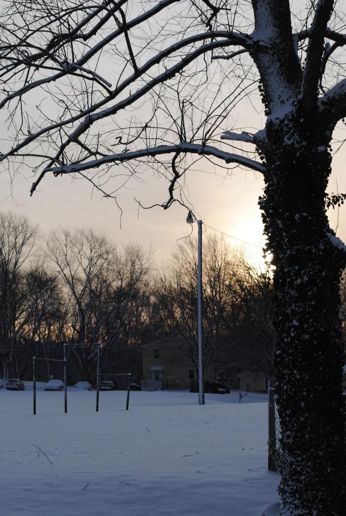 Snow covered playground
